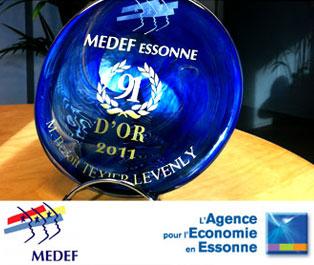 LEVENLY reçoit un trophée 91 d'Or par l'Agence pour l'économie en Essonne à la 19ème cérémonie des 91 d'Or